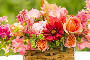 Basket Bouquet with  Roses, Gaillardia, Sweet Peas, Llarkspur, B