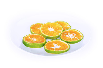Green Orange fruit has been slit