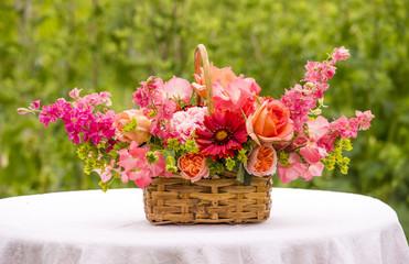 Basket Bouquet with  Roses, Gaillardia, Sweet Peas, Llarkspur, B