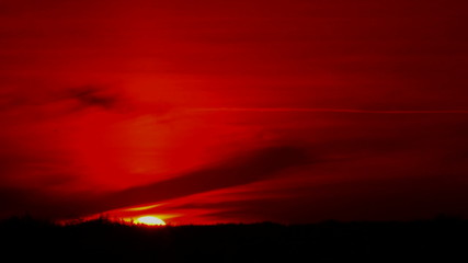 Sunset in red sky  color.   time lapse clip