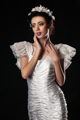 beautiful and elegant model in Wedding dress
