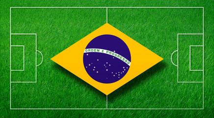 Brasilienflagge mit Spielfeld