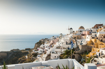 Sunset in Oia on beautiful Santorini island, Greece