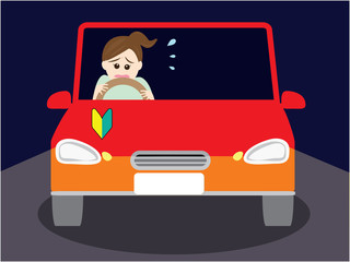 A woman scared of driving at night
