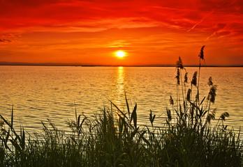 cuando el mar se pinta de rojo por el amanecer