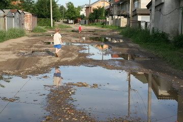 Bad roads in Russia and Ukraine