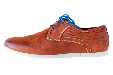 Pair of men's leather shoes. Each in different color