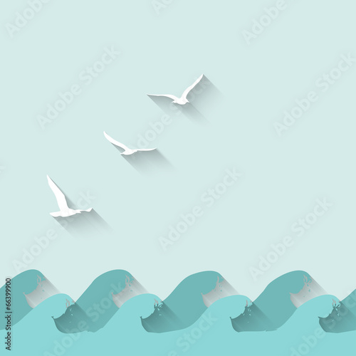 marine background with waves and birds