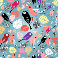 pattern with birds and autumn leaves