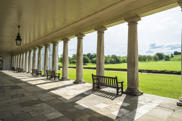 Queen's House, Greenwich, England - view through the columns