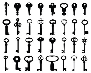 Silhouettes of keys of the doors, vector