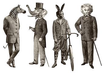 4 animals men