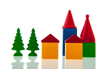Small village in wooden blocks