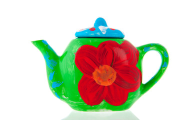 Self painted tea pot