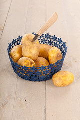 Blue basket potatoes