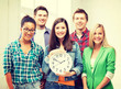 group of students at school with clock