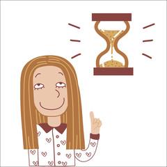 Girl and hourglass