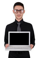 Young Man with Glasses Holding Laptop