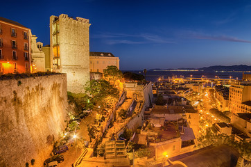 Old Town of Cagliari (Capital of Sardinia, Italy) in the sunset