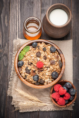 Healthy breakfast of granola muesli