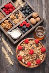 Breakfast with muesli, granola. Honey, nuts, berries, milk.