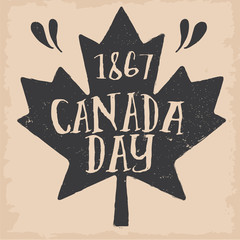 Vintage Canada Day Typography Sign