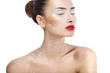Beautiful face of young woman, red lips, powder