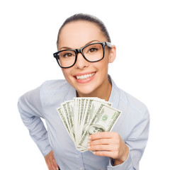 smiling businesswoman with dollar cash money
