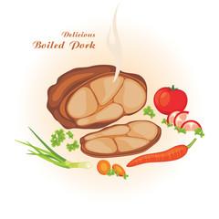 Delicious boiled pork