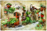 Fototapety floral streets of Spello, Umbria, Italy. artistic picture