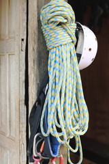 Climbing gear hanging at the door. Bandipur-Nepal. 0457