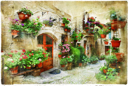 floral streets of Spello, Umbria, Italy. artistic picture