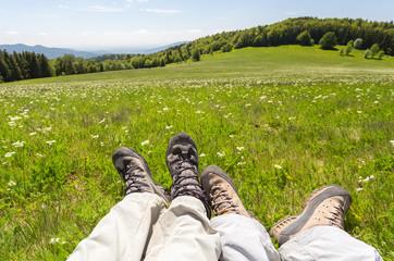 Chaussures jambes randonnée