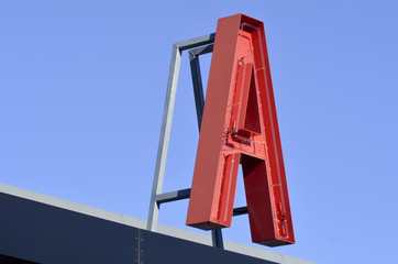 A letter Neon sign red