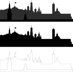 city silhouette in black, gray and with interpretation part 5