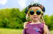 Cute pretty little girl in trendy summer fashion