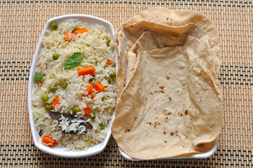 Vegetable fried rice and Roti