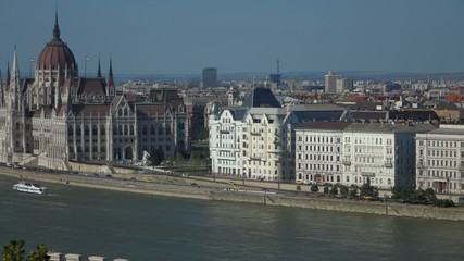 Pan shot of Budapest with the Danube river parliament and ships