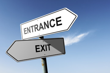 Entrance and Exit directions.  Opposite traffic sign.
