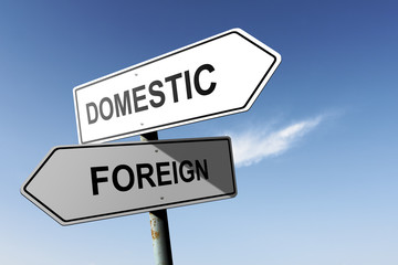 Domestic and Foreign directions.  Opposite traffic sign.