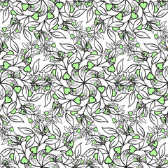 Painted flowers. seamless vector background