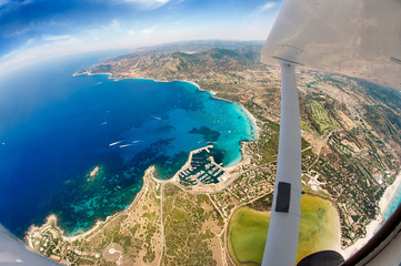 Sardinian coast by plane