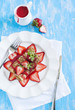 Crepes with fresh strawberry and strawberry sauce