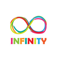 Vector logo infinity. Written with colored markers