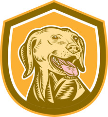 Labrador Dog Head Shield Woodcut