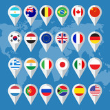 Fototapety Vector flag buttons in flat design