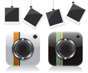 Retro camera icons and photo frame