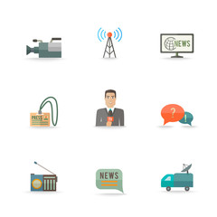 Journalist Reporter Icons Set