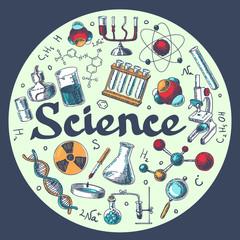 Chemistry research emblem template sketch