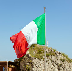 Italian flag waving on the wind